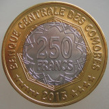 INSULELE COMORE KM#21 - 250 Franci 2013 UNC, 28.5mm (30 YEARS CENTRAL BANK), Africa