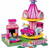 Animal de plus - Set constructie Unico Plus Hello Kitty Parc de distractii cu carusel 75 piese
