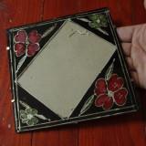 Rama din sticla pictata manual / motive florale taranesti din zona Mehedinti !