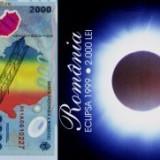 2000 lei 1999 bancnote cu eclipsa in pliant BNR seria 001A, UNC, NECIRCULATE (3), An: 1999