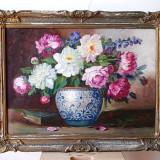 Bujori ulei pe carton, 83x62 cm- atribuit Elena Muller Stancescu, vas cu flori