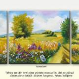 Zi frumoasa de vara (2) - tablou 3 piese, ulei pe panza, 160x70cm - Pictor roman, An: 2016, Peisaje, Ulei, Altul