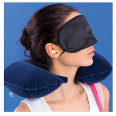 3in1 Set de calatorie: perna gonflabila de gat + masca ochi + 2 dopuri de urechi