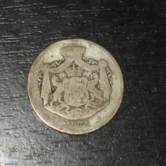 Monede Romania, An: 1875, Argint - Moneda argint 2 lei Romania 1875, regele Carol I, uzata
