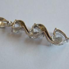 Pandant de aur 9k cu zirconii - Pandantiv aur alb