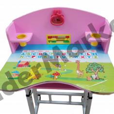Birou pentru copii reglabil pe inaltime cu scaunel roz 71x 49 x 95 cm - Masuta/scaun copii