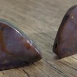 Cercei surub/fluture/cheita baza bronz agata indiana