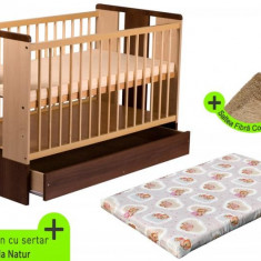 Pat copii - Patut cu sertar KLUPS Paula Natur Wenge + Saltea Fibra MyKids