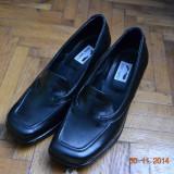 Pantofi negri de piele - Pantofi dama, Marime: 38, Culoare: Negru