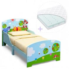Set Pat Cu Cadru Din Lemn Disney Winnie Si Saltea Pentru Patut Dreamily - 140 X 70 X 10 Cm - Patut lemn pentru bebelusi