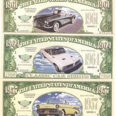 Bancnota Straine, America de Nord - !!! SUA = FANTASY NOTES = LOT 5 MASINI CLASICE AMERICANE - 2002 - UNC