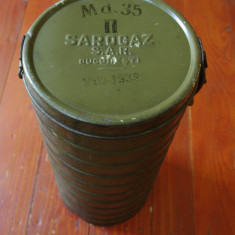 Cutie din tabla pentru Masca de gaze / Sarogaz S.A.R Bucuresti model 1939 !!!