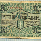 A 116 BANCNOTA-GERMANIA - 10 MARK- anul 1919 -SERIA 340985-starea care se vede
