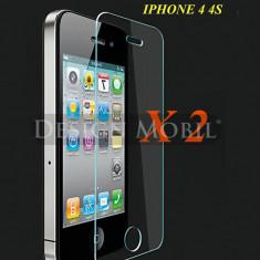 2X FOLIE STICLA IPHONE 4 4S TEMPERED GLASS SUPER OFERTA (2 BUC) - Folie de protectie Apple