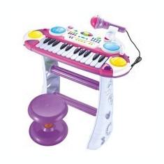 Orga pentru copii cu microfon si scaunel - Instrumente muzicale copii