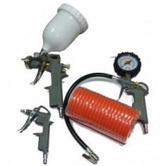 Compresor electric - Stager Kit 4 accesorii pistol suflatpistol manometrupistol vopsitfurtun spiralat