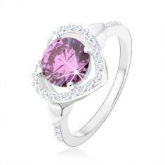 Inel din argint 925, zirconiu rotund de culoare tanzanit în contur de inimă - Inel argint