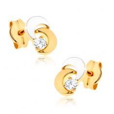 Cercei din aur 9K - două luni, piatră transparentă strălucitoare, placaţi cu rodiu - Cercei aur