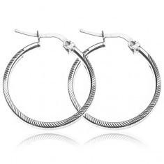 Cercei rotunzi, argint 925 cu crestături, 25 mm - Cercei argint