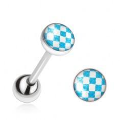 Piercing pentru limbă din oţel, model de tablă de şah cu albastru şi alb - Piercing limba