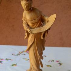 DEOSEBITA STATUETA DIN LEMN, LUCRATA MANUAL IN DETALII MICI, CHINA - Sculptura, Religie, Asia