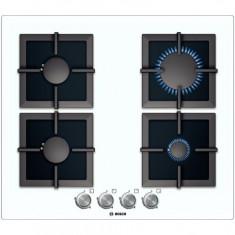 Plita incorporabila gaz Bosch PPP612B21E, 4 Arzatoare gaz, Aprindere electrica, Sticla alba - Plita electrica