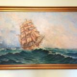 Tablou, pictura in ulei pe pânză - Bricul Mircea -de Valentin Donici - Pictor roman, Marine, Altul