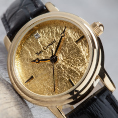 Ceas YVES CAMANI Gironde Placat cu Aur 24k Model Nou - Ceas dama Yves Camani, Lux - elegant, Quartz, Piele, Rezistent la apa