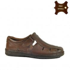 Sandale barbati piele naturala TONIO maron (Marime: 46)