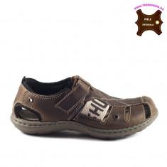 Sandale barbati piele naturala JIMMY maron (Marime: 41)