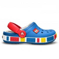 Papuci Crocs imblaniti Crocband Mammoth LEGO Clog Kids (CRC14631-SEA ) - Papuci copii Crocs, Marime: 23.5, 25.5, 33.5, Culoare: Albastru