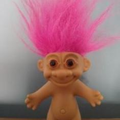 Papusa Troll (pitic, trol), cauciuc, 10cm, par roz - Papusa de colectie