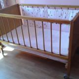 Pătuţ din lemn natur pentru copil 0-2 ani - Patut lemn pentru bebelusi, 120x60cm