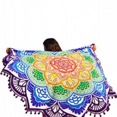 ES72 Esarfa de plaja cu print Mandala colorat - Esarfa, Sal Dama, Marime: Marime universala