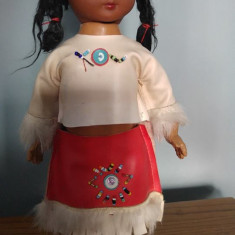 Papusa etno amer-indianca in constum traditional, 29 cm, vintage, - Papusa de colectie