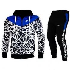 Trening Nike Barbati negru-albastru-gros iarna - Trening barbati Nike, Marime: S, M, L, XL, XXL, Culoare: Din imagine, Microfibra