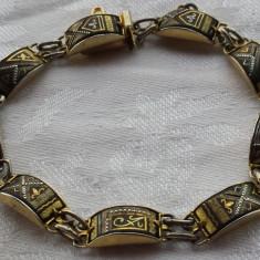 Bratara splendida poleita cu Aur Negru de Toledo executata manual Vintage