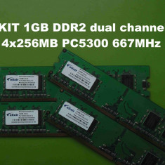 Memorie RAM PC DDR2 1GB KIT (4x256MB) PC5300 667MHz Elixir, Dual channel