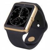 Ceas Smartwatch cu Telefon iUni U7s, Camera, Apelare BT, LCD Capacitiv 1.54 inch, Antizgarieturi, Slot Card, Metalic, Auriu