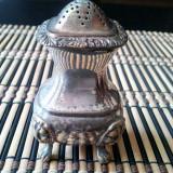 Solniță alamă argintată lucrată manual