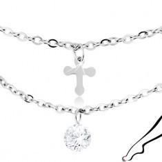 Brățară de picior argintie din oțel, argintie, zirconii transparente, cruci lucioase - Lantisor inox