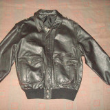 Geaga pilot/aviator/vintage, piele naturala, barbati, model US Air Force neagra - Geaca barbati, Marime: XL, Culoare: Negru