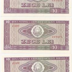 ROMANIA 3 bancnote x 10 lei 1966 UNC SERIE CONSECUTIVA
