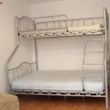 PAT METALIC SUPRAETAJAT PENTRU TREI PERSOANE - Pat dormitor