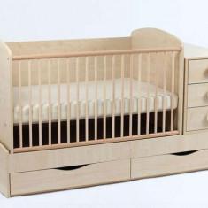 Patut copii Natur Multifunctional - Patut lemn pentru bebelusi Baby Design, Altele, Alte dimensiuni, Crem