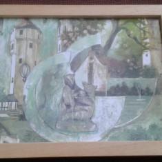Pictura Tablou creion si acuarela semnata - Tablou autor neidentificat, Nonfigurativ, Altul