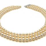 Colier perle - Colier Triplu Perle Naturale Crem