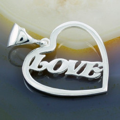 Colier placate cu aur - Pandantiv model Inima - Love, din Argint 925, cod 243
