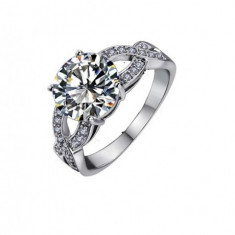 Inel aur - Inel Beautifull White diametru 16cm cu cristale Swarovski placat cu aur 18k