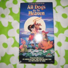 Caseta video VHS originala NTSC, Desene animate: All dogs go to heaven, SUA - Film animatie mgm, Engleza